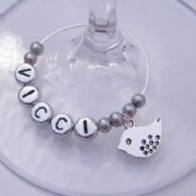 Small Bird Personalised Wine Glass Charm